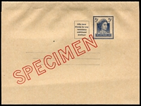 Lot 706:1959-65 5d Blue QEII BW #W29w diagonal 'SPECIMEN' in red, Cat $100.