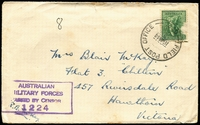 Lot 4954:Field Post Office 'FIELD POST OFFICE/16JA44/072.' (Adelaide River, N.T.) on 4d Koala on air cover to Hawthorn, Vic, with boxed 'AUSTRALIAN/MILITARY FORCES/PASSED BY CENSOR/1224' (B2) in purple.
