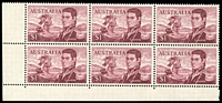 Lot 597:1966-74 $1 Flinders BW #463e,f, BRC block of 6 [Sht A R9-10/3-5], unit 9/3 with Left frame missing for 4-5mm at base & TLC broken, unit 10/3 with Left shading missing for 3mm at top and flaw on D of FLINDERS, Cat $120+