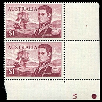 Lot 602:1966-74 $1 Flinders BW #463zb, bottom centre Plate Number 3 block of 4, Cat $40.