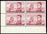 Lot 601:1966-74 $1 Flinders BW #463k, BLC block of 4 [Sht ? R9-10/1-2], unit 9/1 with recut shading in TRC, Cat $40+.