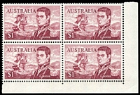 Lot 595:1966-74 $1 Flinders BRC block of 4 [R9-10/4-5], unit 10/4 with recut N of FLINDERS.
