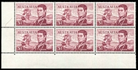 Lot 598:1966-74 $1 Flinders BW #463e,fa, BRC block of 6 [Sht A R9-10/3-5], unit 9/3 with Left frame missing for 4-5mm at base & TLC broken, unit 10/3 with Left shading missing for 3mm at top and flaw on D of FLINDERS - retouched Type I, Cat $105+