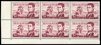Lot 600:1966-74 $1 Flinders BW #463ea,fd, BRC block of 6 [Sht A R9-10/3-5], unit 9/3 with Left frame missing for 4-5mm at base & TLC broken - retouched, unit 10/3 with Left shading missing for 3mm at top and flaw on D of FLINDERS - retouched Type IV, Cat $90+