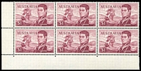 Lot 599:1966-74 $1 Flinders BW #463ea,fc, BRC block of 6 [Sht A R9-10/3-5], unit 9/3 with Left frame missing for 4-5mm at base & TLC broken - retouched, unit 10/3 with Left shading missing for 3mm at top and flaw on D of FLINDERS - retouched Type III, Cat $90+
