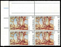 Lot 3338:1974-81 Paintings BW #665f, $2 Heysen, TLC block of 4, BRC with large green dot between trees [LP 2/2], Cat $29.