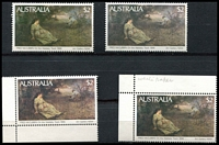 Lot 629:1977-89 Paintings $2 Wallaby Track x4, all with quite different colouring (4)