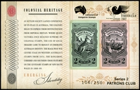 Lot 916 [1 of 2]:2013 Patrons Club set of 2 Colonial Hertitage M/Ss, number 106 of 250.