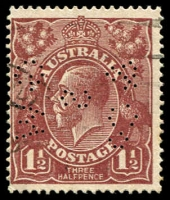 Lot 292:1½d Brown Die I BW #85(U)l [C163] Cracked electro through lower shaded oval, fine 'GW/S/&Co' perfin of Geo Wood & Sons, Perth, Cat $1,000.