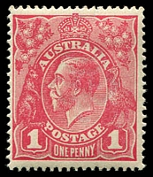 Lot 174:1d Red Smooth Paper BW #71Va wmk inverted in carmine-rose shade, Cat $60, Drury certificate (2011).