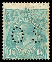 Lot 369:1/4d Greenish Blue - BW #130wa perf 'OS' CTO, light toning, Cat $60.