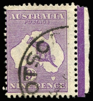 Lot 1027:9d Violet BW #29(4)k [4L18] White flaw adjoining upper tail of kangaroo marginal single, Cat $100.