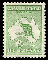 Lot 81:½d Green - BW #1 MUH, Cat $25.