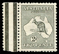 Lot 89:2d Grey - BW #5a Wmk inverted marginal single, MUH, Cat $475.