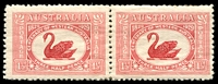 Lot 313:1929 WA Centenary BW #138e Re-entry of swan's neck & T [2/64], in pair, non-varietal unit MVLH, Cat $175.