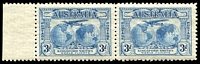 Lot 314:1931 Kingsford Smith BW #142d 3d Plane dropping mailbag, in marginal pair, Cat $100.