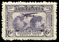 Lot 315:1931 Kingsford Smith BW #143d 6d dull violet with Re-entry to T of AUSTRALIA etc [P1/45], Cat $100.
