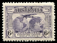 Lot 317:1931 Kingsford Smith BW #143e 6d violet marginal block of 4 with Extra islands [1/60], Cat $100.