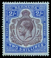 Lot 3265:1924-32 KGV Key Plates Wmk Mult Script CA SG #88g 2/- purple & blue/grey-blue, Cat £65