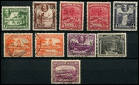 Lot 19560:1934-51 Pictorials SG #288-91, 293-5,298 1c, 2c, 3c x2, 4c, 12c x2, 24c, 48c & 72c, Cat £30+. (10)
