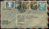 Lot 18667:1947 (Sep 26) use of 20c, 40c, 50c x2 & 2p Air stamps on air cover to Canada, endorsed 'VIA PANAGRA'.