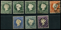 Lot 3470:1886-93 Wmk Crown/CA (Sideways) SG #21-35 Range, ½d myrtle-green, ½d grey-green x3, 2d, 2½d, 3d & 1/-, Cat £50 (8)