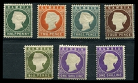 Lot 3469:1886-93 Wmk Crown/CA (Sideways) SG #21-35 Range, ½d myrtle-green, 2d, 2½d, 3d, 4d, 6d (small fault) & 1/- x2 shades, Cat £70 (7)