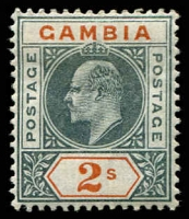 Lot 3471:1902-05 KEVII Wmk CA SG #54, 2/- deep slate & orange, Cat £55.