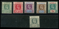 Lot 3472:1902-05 KEVII Wmk Mult CA SG #57-8,61-2,65,74, ½d, 1d, 3d, 4d & 7½d, plus 2d grey, Cat £75. (6)