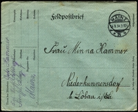 Lot 3766:1914 (Sep 14) use of stampless Feldpostbrief green envelope, from Mainz to Löbau, minor faults.