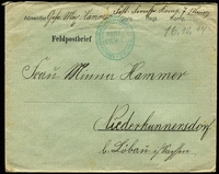 Lot 3767:1914 (Oct 16) use of stampless Feldpostbrief green envelope, from Mainz to Löbau, minor faults, fine green double-oval 'KÖN[?]LICH SÄCHSISCHE PESTUNGS FERNSPR. [COM]PAGNIE No7/BRIEF-/STEM[P]E[L]