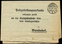Lot 3764:1931: (Nov 27) use of stampless 'Postzustellungsurkunde' (postal delivery certificate) sheet, cancelled with double-ring 'WANDSBEK/27.11.31. 19-20/*1d'.