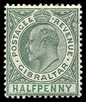 Lot 4021:1904-08 KEVII Wmk Mult Crown/CA SG #56 ½d dull & bright green, hinge rem, Cat £23.