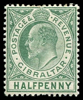 Lot 4022:1904-08 KEVII Wmk Mult Crown/CA SG #56a ½d dull & bright green chalk paper, hinge rem, Cat £15.