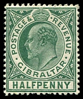 Lot 4023:1906-11 KEVII New Colours SG #66 ½d blue-green, Cat £15.