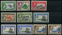 Lot 4035 [1 of 2]:1939-55 KGVI Pictorials SG #43-54 complete set, with 3d P13½x2, 3d P12, 5d x2, 1/- both shades, Cat £88 (16)