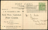 Lot 4094 [1 of 2]:CW Faulkner & Co: 'CWF' perfin on ½d green KEVIII, nicely tied to CW Faulkner & Co Rydal Water, Cumberland Postcards, PPC. Unusual.