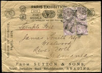 Lot 4081 [1 of 2]:1882 (Sep 28) use of 1d lilac Die II x4 all perf 'S&S' on Sutton & Sons Sample Post cover to River Forth Tasmania, vertical crease. The cover promotes their success in the 1878 Paris Exhibition. Nice item.