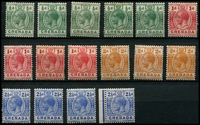 Lot 4103 [1 of 2]:1913-22 KGV Wmk Mult Crown/CA SG #89-98 ½d x5, 1d x4, 2d x3, 2½d x4, 3d x9, 6d x2 & 1/- x2. Plus 1d 'WAR TAX' x3. (32)