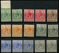 Lot 4104 [1 of 2]:1921-32 KGV Wmk Mult Script CA SG #112-25 ½d x2, 1d carmine-red x2, 1d brown, 2d orange x3, 2d grey x2, 2½d blue x3, 2½d grey x2, 3d blue x2, 3d purple/yellow, 4d, 5d & 6d. (21)
