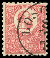 Lot 23914:1871-73 Lithograph SG #4 5k rose, part Losoncz cancel, Cat £35.