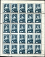 Lot 3864:1953 Costumes SG #1327 1f Sárköz sheet of 25 with all lightly cancelled, Cat £67.