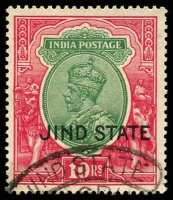 Lot 3685:1927-37 KGV Wmk Mult Star SG #101 10r green & carmine, fiscal cancel, Cat £18.