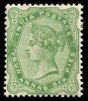 Lot 3654:1892-97New Values Values Wmk Star SG #103 2a6p yellow-green.