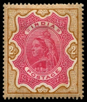 Lot 3655:1895 High Values Wmk Star SG #107 2r carmine & yellow-brown, Cat £90.
