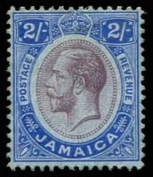 Lot 3741:1912-20 KGV Wmk Mult Crown/CA SG #66 2/- purple & bright blue/blue, Cat £26