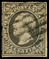 Lot 22170:1852-58 Wilhelm III SG #1 10c black 4-margins, Cat £190