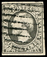 Lot 22171:1852-58 Wilhelm III SG #2 10c grey-black 4-margins, 1 close, Cat £95.