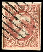 Lot 22172:1852-58 Wilhelm III SG #4 1sgr rose 4-margins, Cat £150