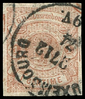 Lot 4055:1859-63 Arms Imperf SG #6 1c pale brown 4-margins, repaired tear, 1874 cancel, Cat £700